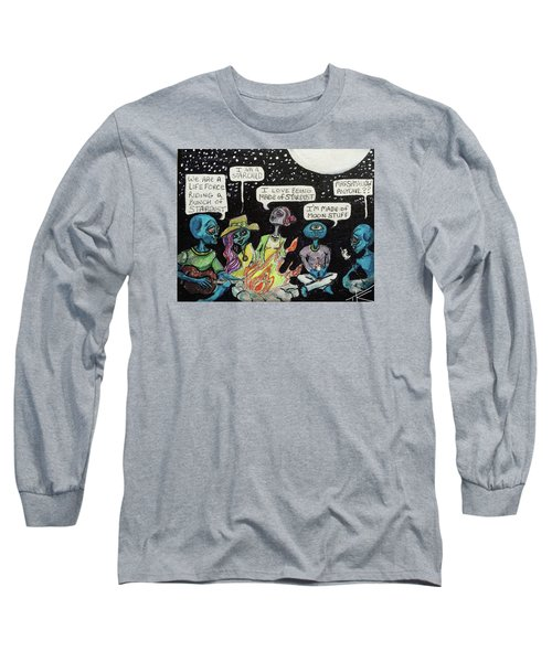 Long Sleeve T-Shirt featuring the painting Aliens By The Campfire by Similar Alien