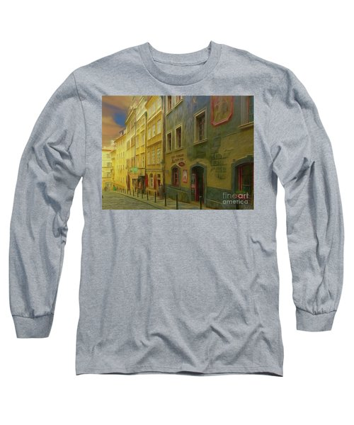 Long Sleeve T-Shirt featuring the photograph All Downhill From Here - Prague Street Scene by Leigh Kemp