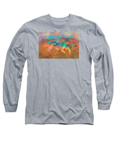 Long Sleeve T-Shirt featuring the digital art All The Pretty Horses by Christina Lihani