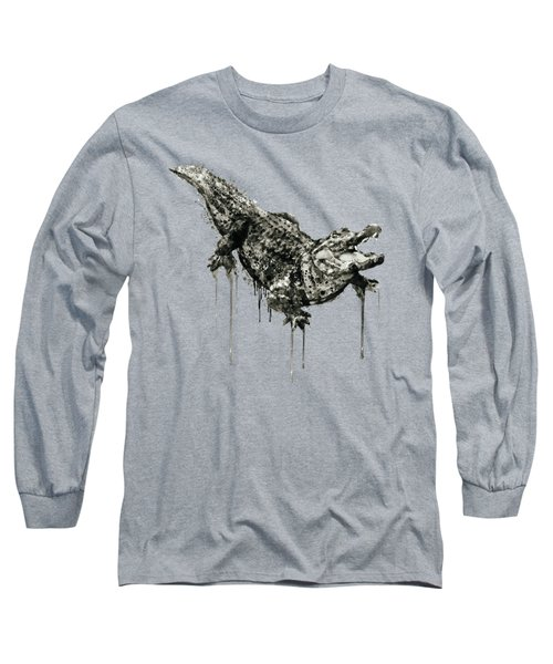 Alligator Black And White Long Sleeve T-Shirt by Marian Voicu