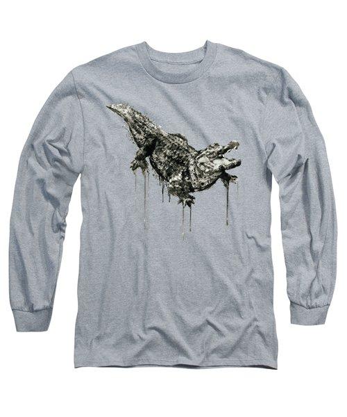 Alligator Black And White Long Sleeve T-Shirt