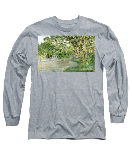 Long Sleeve T-Shirt featuring the painting Along The Susquehanna by Melly Terpening