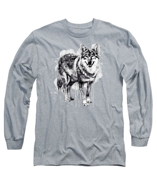 Alpha Wolf Black And White Long Sleeve T-Shirt by Marian Voicu