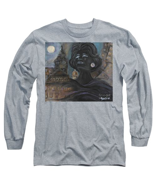 Long Sleeve T-Shirt featuring the painting Amalia Rodrigues Tribute by AmaS Art