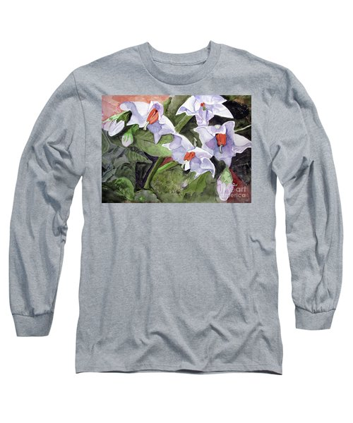 Amanda's Blue Potato Flowers Long Sleeve T-Shirt by Sandy McIntire