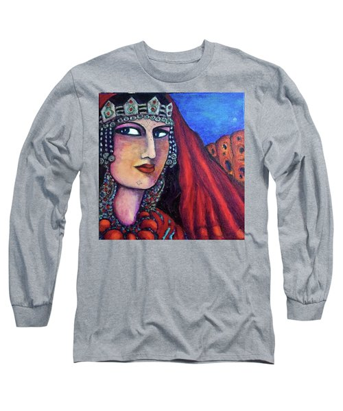 Long Sleeve T-Shirt featuring the painting Amazigh Beauty 1 by Rae Chichilnitsky