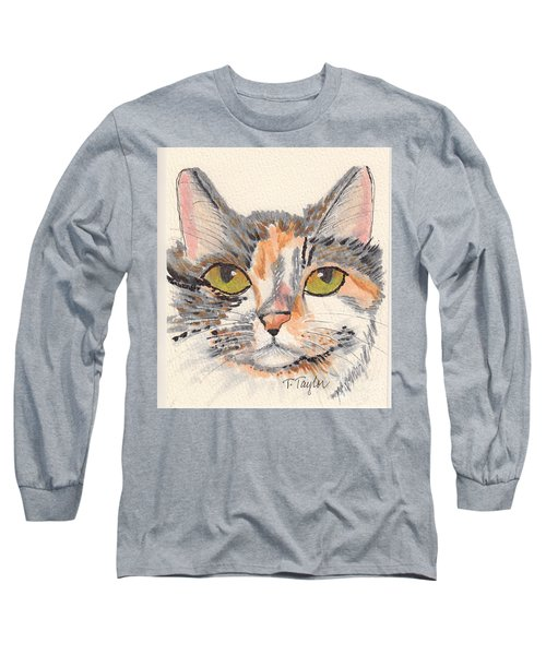 Long Sleeve T-Shirt featuring the drawing Amelia by Terry Taylor