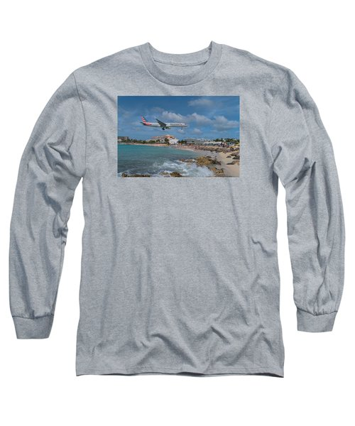 American Airlines Landing At St. Maarten Airport Long Sleeve T-Shirt