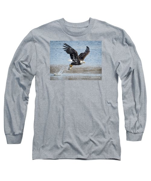 American Bald Eagle Taking Off Long Sleeve T-Shirt by Ricky L Jones
