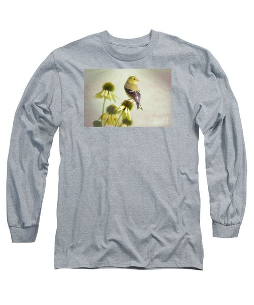 American Goldfinch On Coneflower Long Sleeve T-Shirt