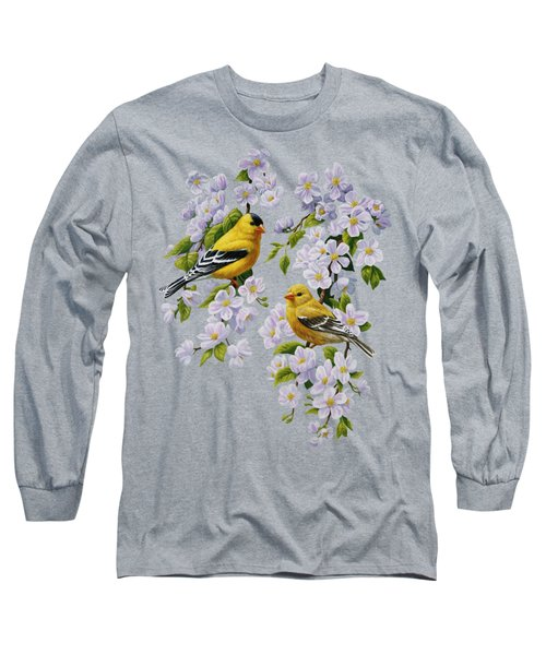 American Goldfinches And Apple Blossoms Long Sleeve T-Shirt