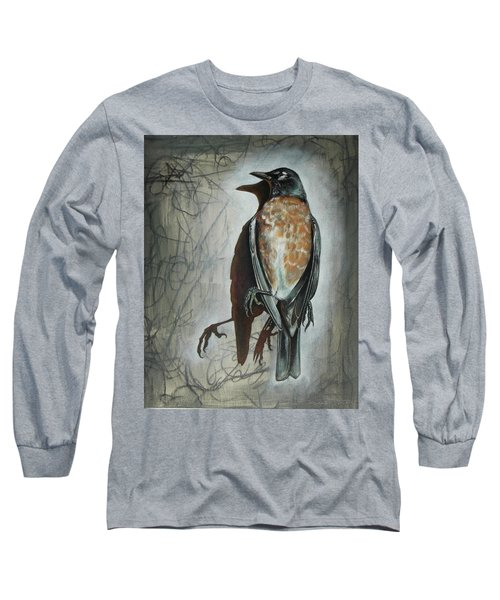 Long Sleeve T-Shirt featuring the mixed media American Robin by Sheri Howe