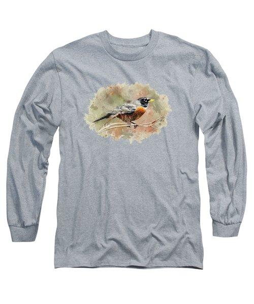 American Robin - Watercolor Art Long Sleeve T-Shirt