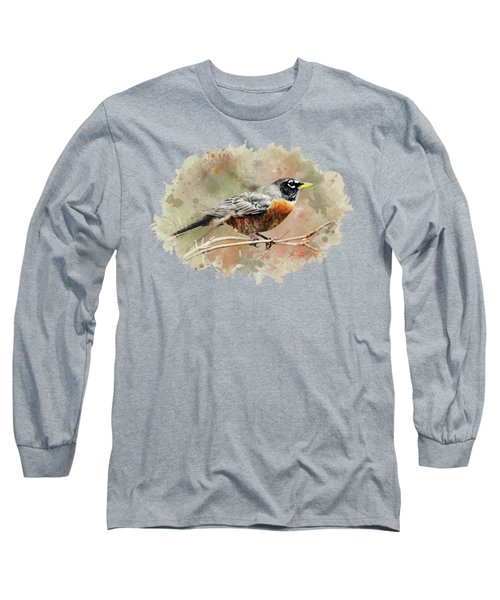 Long Sleeve T-Shirt featuring the mixed media American Robin - Watercolor Art by Christina Rollo