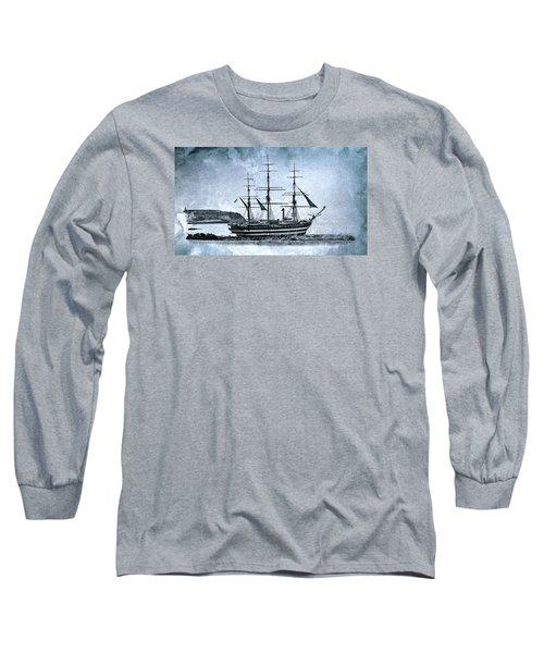 Amerigo Vespucci Sailboat In Blue Long Sleeve T-Shirt by Pedro Cardona