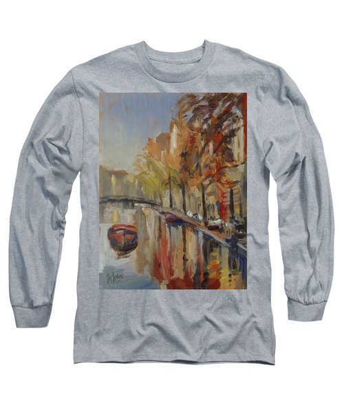 Amsterdam Autumn With Boat Long Sleeve T-Shirt
