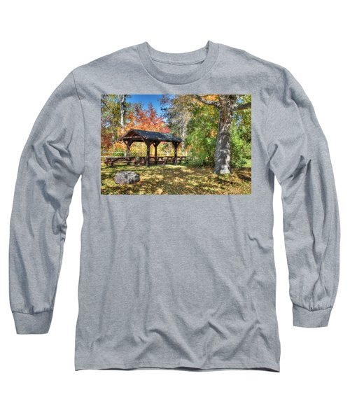Long Sleeve T-Shirt featuring the photograph An Autumn Picnic In Maine by Shelley Neff
