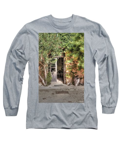 Long Sleeve T-Shirt featuring the photograph An Entrance In Santorini by Tom Prendergast