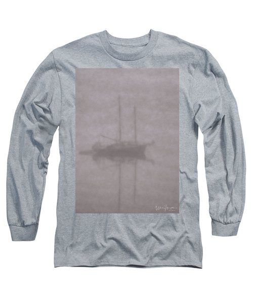 Anchored In Fog #1 Long Sleeve T-Shirt by Wally Hampton