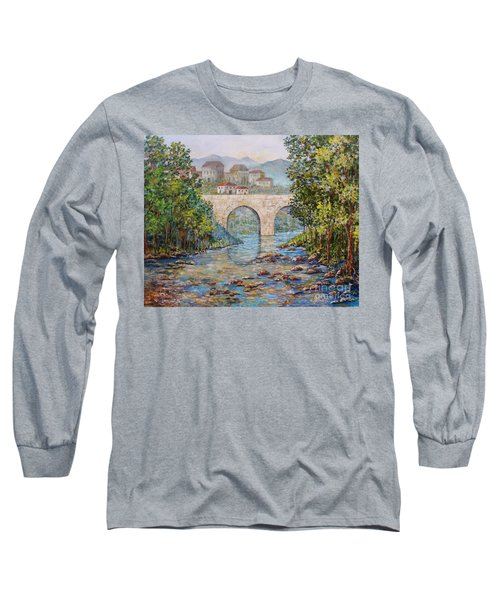 Long Sleeve T-Shirt featuring the painting Ancient Bridge by Lou Ann Bagnall