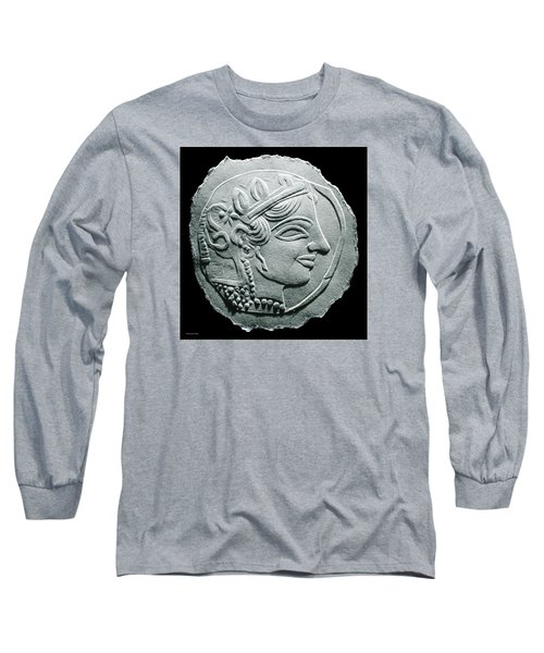 Long Sleeve T-Shirt featuring the relief Ancient Greek Relief Seal Drawing by Suhas Tavkar