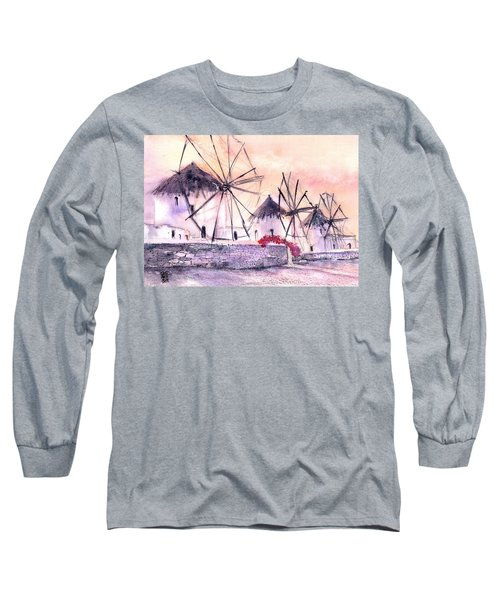Ancient Windmills Of Mykonos Greece Long Sleeve T-Shirt