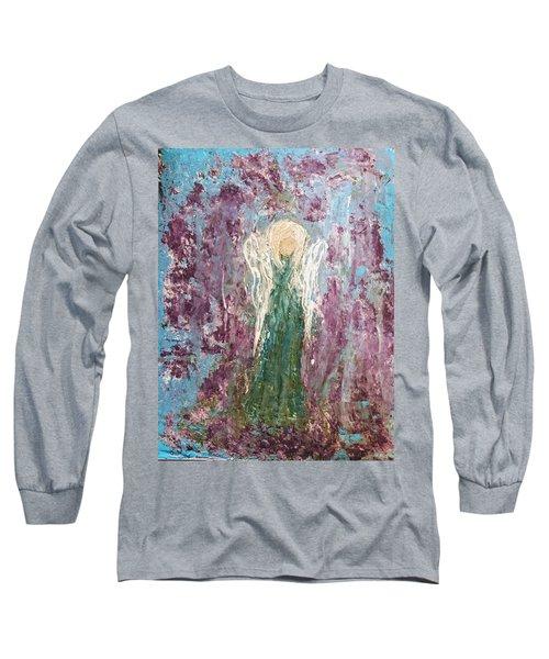 Angel Draped In Hydrangeas Long Sleeve T-Shirt