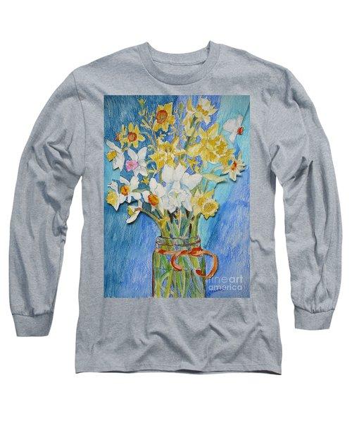 Angels Flowers Long Sleeve T-Shirt by Jan Bennicoff