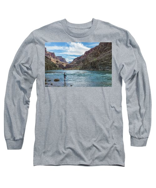 Angling On The Colorado Long Sleeve T-Shirt by Alan Toepfer