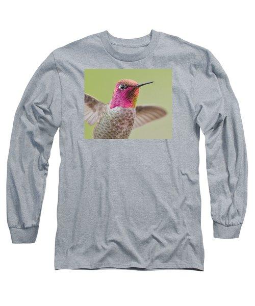 Anna's Hummingbird Closup In Flight Long Sleeve T-Shirt