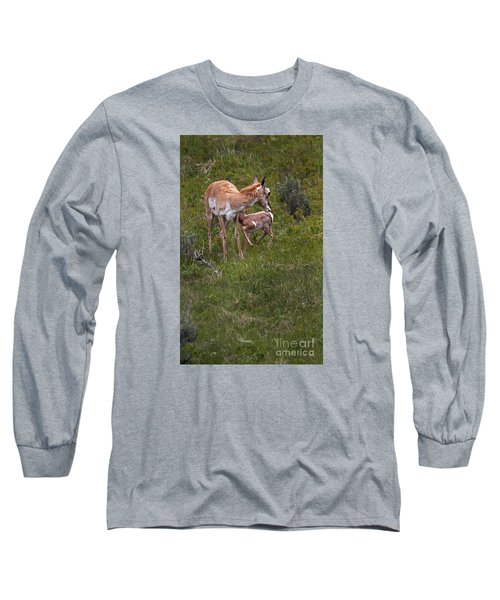 Antelope And Baby-signed-#3576 Long Sleeve T-Shirt by J L Woody Wooden