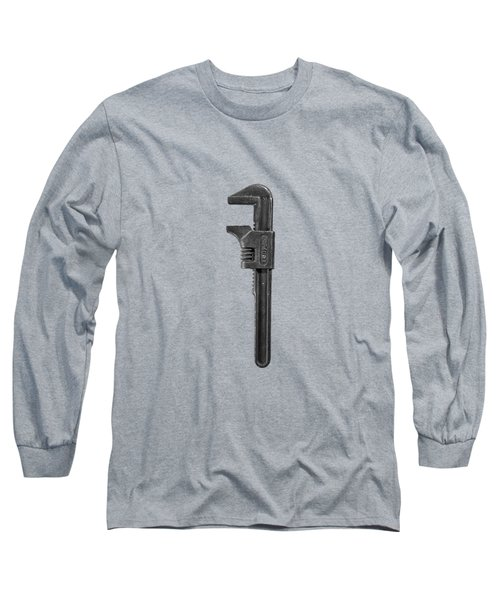 Antique Adjustable Wrench Front In Bw Long Sleeve T-Shirt