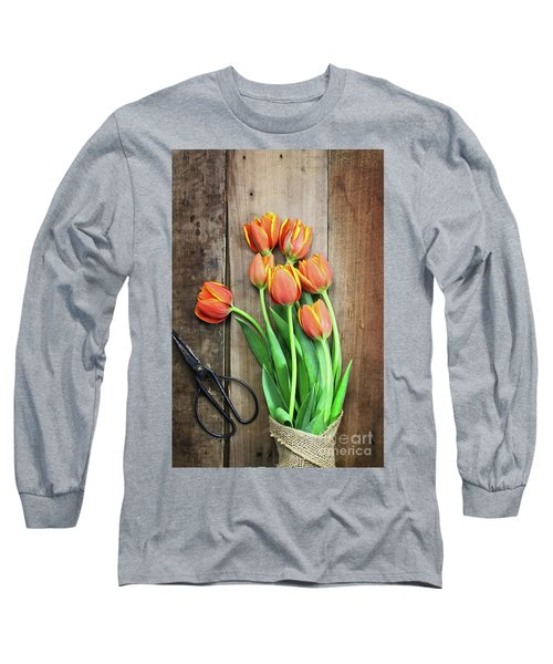 Long Sleeve T-Shirt featuring the photograph Antique Scissors And Bouguet Of Tulips by Stephanie Frey