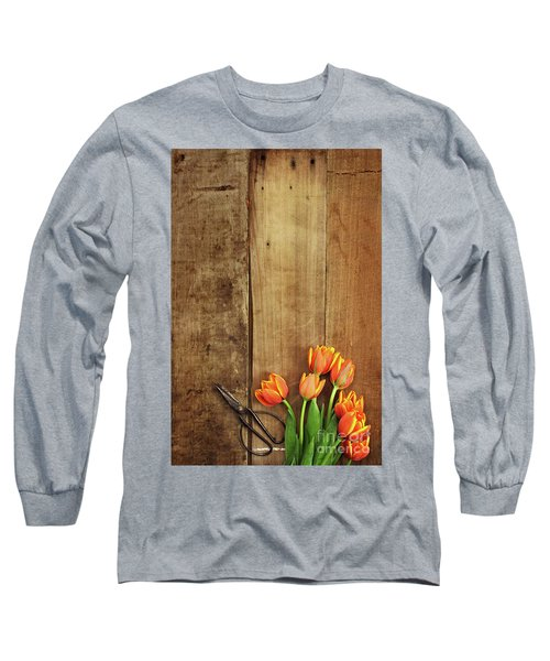 Long Sleeve T-Shirt featuring the photograph Antique Scissors And Tulips by Stephanie Frey