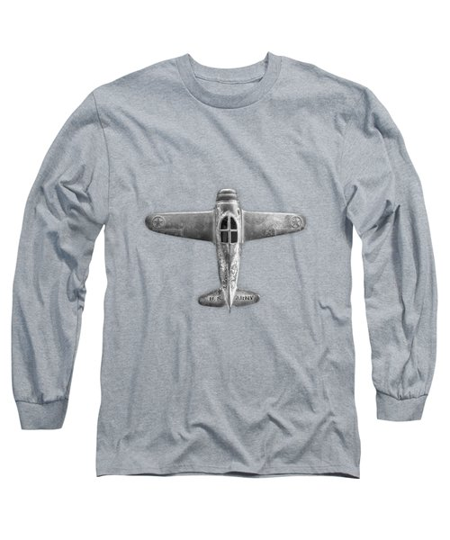 Antique Toy Airplane Floating On White In Black And White Long Sleeve T-Shirt