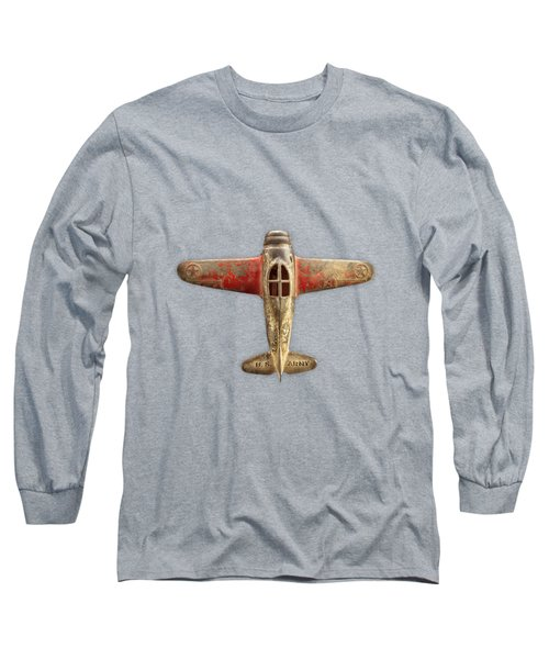 Antique Toy Airplane Floating On White Long Sleeve T-Shirt