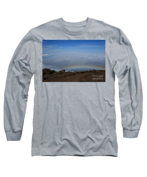 Anuenue - Rainbow At The Ahinahina Ahu Haleakala Sunrise Maui Hawaii Long Sleeve T-Shirt by Sharon Mau