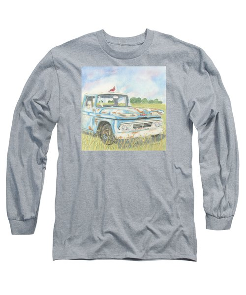 Long Sleeve T-Shirt featuring the drawing Apache Out To Pasture by Arlene Crafton