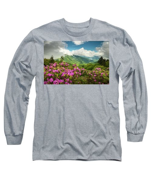 Appalachian Mountains Spring Flowers Scenic Landscape Asheville North Carolina Blue Ridge Parkway Long Sleeve T-Shirt