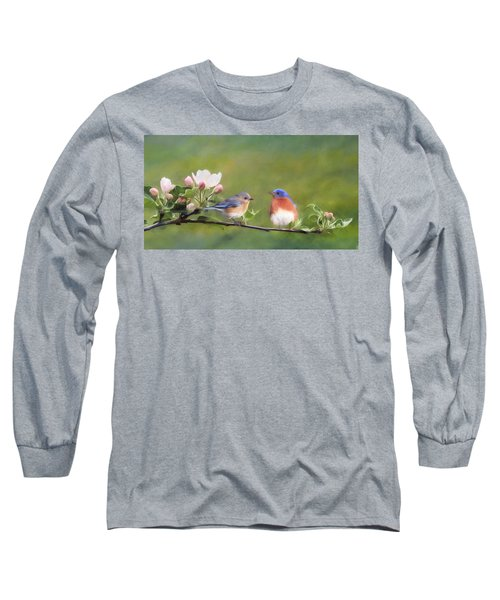 Apple Blossoms And Bluebirds Long Sleeve T-Shirt