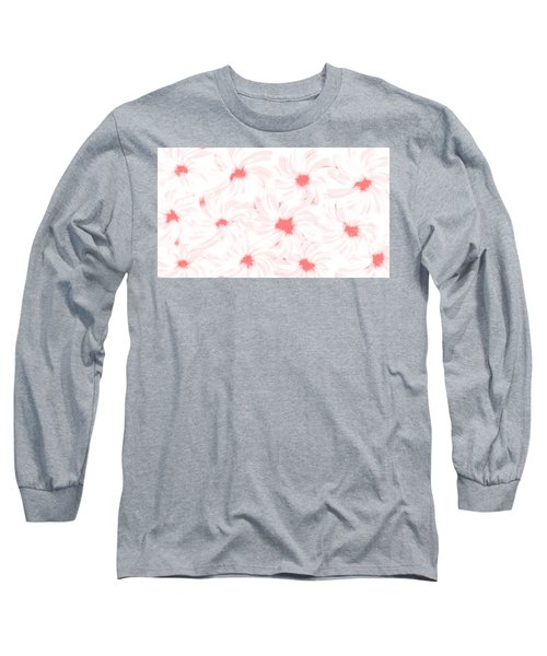 'apricot And White Flower Abstract 2' Long Sleeve T-Shirt