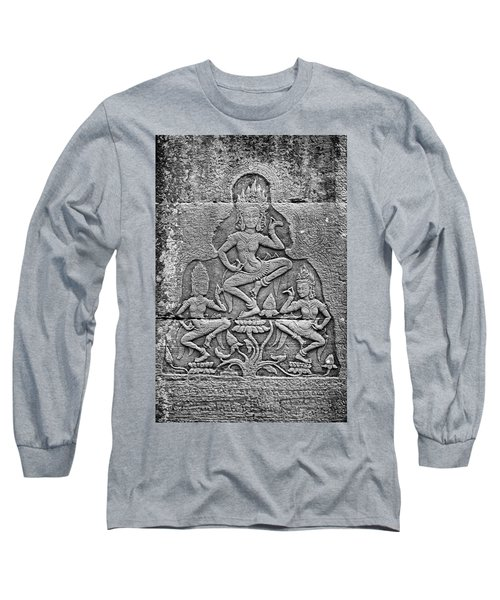 Long Sleeve T-Shirt featuring the photograph Apsaras 3, Angkor, 2014 by Hitendra SINKAR