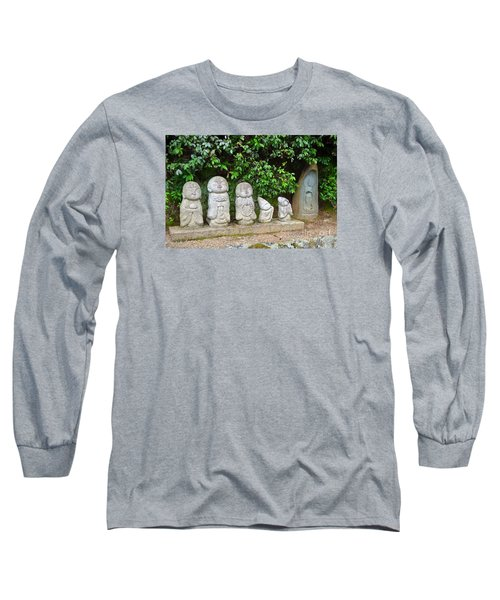Long Sleeve T-Shirt featuring the digital art Arashiyama Street Buddah Statues by Eva Kaufman