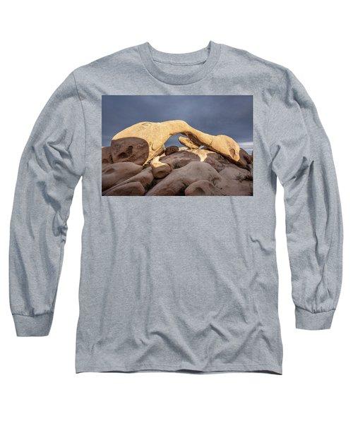 Arch Rock Panorama In Joshua Tree Long Sleeve T-Shirt by Joe Belanger