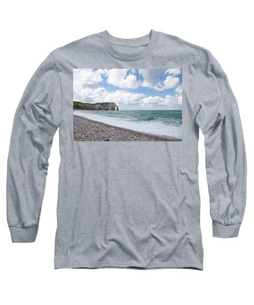 Arch At Etretat Beach, Normandie Long Sleeve T-Shirt by Yoel Koskas
