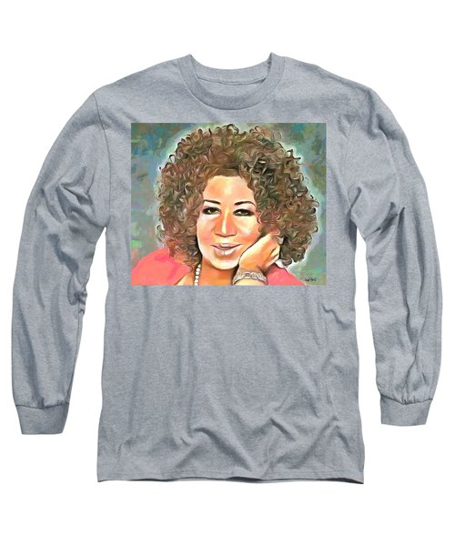 Aretha Franklin Long Sleeve T-Shirt by Wayne Pascall