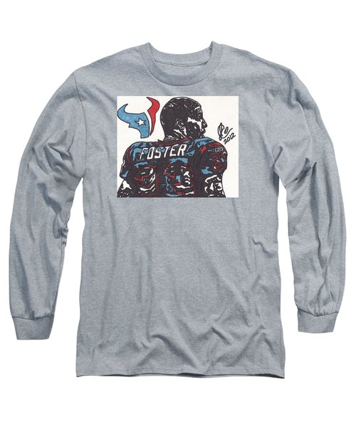 Long Sleeve T-Shirt featuring the drawing Arian Foster 2 by Jeremiah Colley