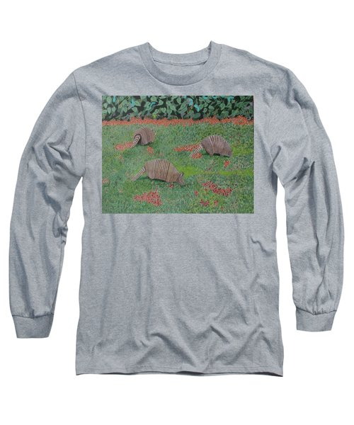 Long Sleeve T-Shirt featuring the painting Armadillos In The Yard by Hilda and Jose Garrancho