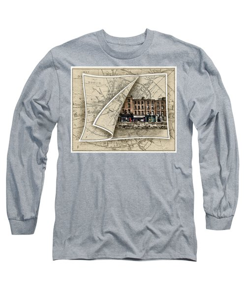 Arran Quay Dublin Map Long Sleeve T-Shirt