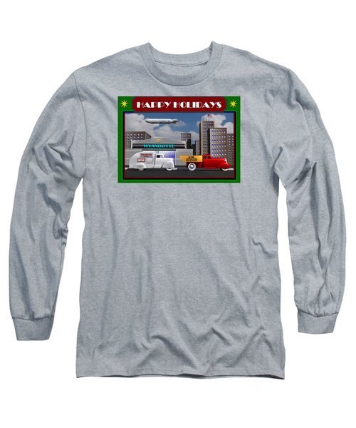 Art Deco Street Scene Christmas Card Long Sleeve T-Shirt by Stuart Swartz
